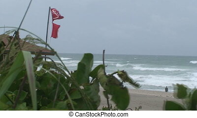 No Swimming Red FLAG - Red flags fly in the strong wind at...
