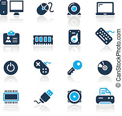 Computer and Devices Azure - Vector icons for your website...