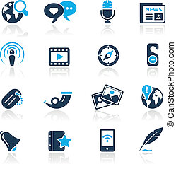 Social Media Azure - Vector icons for your website or...