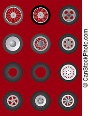 Wheels with tires. - Different wheels with tires for...