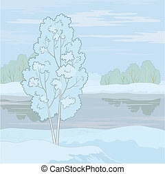 Winter landscape. Tree on the shore - Winter landscape: tree...