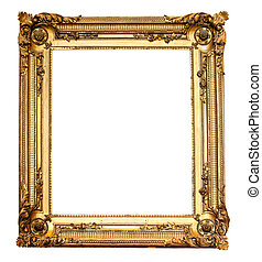Real old antique gold frame isolated on white