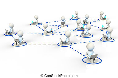 Social Network - 3D little human characters X14 in a...