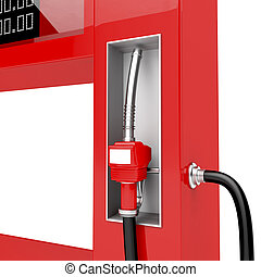 Red fuel pump nozzle - 3d render of red fuel pump nozzle