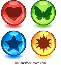 Colorful symbol spheres - Fun colorful balls or spheres with...