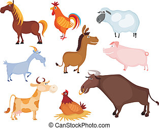 farm animal set - vector illustration of a farm animal set