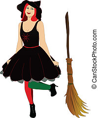 witch with broom - Vector image of beautiful sexy witch with...
