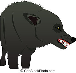 Angry wolf - Vector image of angry gray wolf with big teeth