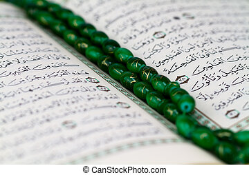 close up beads on qur'an