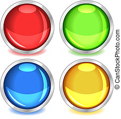 Colorful glossy buttons - Fun colorful web buttons with drop...