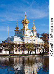Grand palace in Peterhof, Russia - Grand palace in old park...
