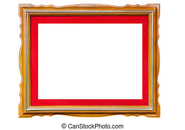 Isolated wood picture photo with red frame