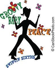 swingin sixties - silhouette of female teen from sixties