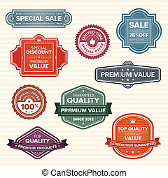 Vintage retro labels in various colors - Set of 9 vintage...