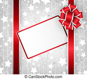 Christmas card - Christmas gift with card and ribbon