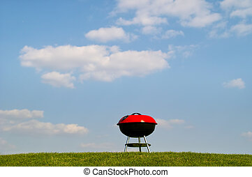 Barbeque grill on green meadow