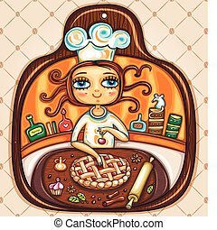 I love cooking - Colorful Illustration in the shape of...