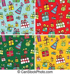 Seamless christmas presents pattern set