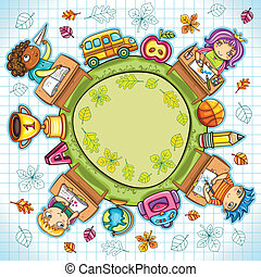 Back to school - Colorful round composition, with cute...