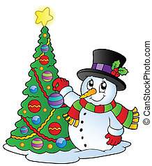 Cartoon snowman with Christmas tree