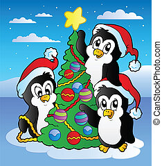 Christmas scene with three penguins - vector illustration.