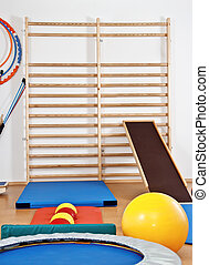 Interior gym with mats and balls