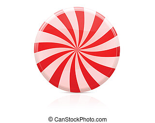Striped sugar candy over white background