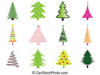 Many christmas trees isolated on white