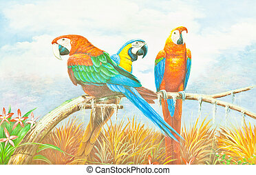 Colorful Macaw Parrot Painting