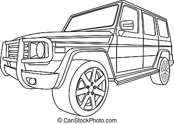 Off road car - vector illustration of off road car in...