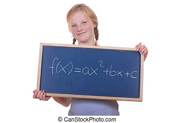 Math student - Smart young math student showing a quadratic...