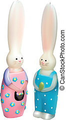Two easter rabbits candle