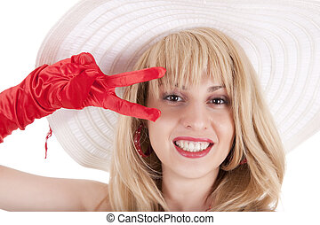 Playful fashion girl in retro style with big hat - Playful...