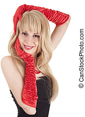 Playful fashion girl in retro style ib red gloves on white...