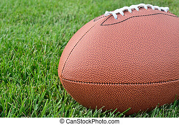 Close-up of an American Football on Grass Field - Close-up...