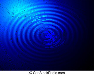 abstract blue lighting, spiritual concept - abstract round...