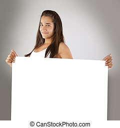Cheerful Teenager Holding an Empty Board