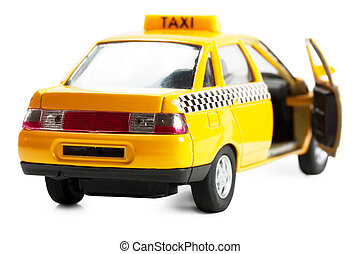 Taxi car - Little taxi car toy with opened door on white...