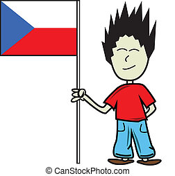 Czech flag - Proud young male holding the czech flag