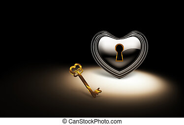 closed heart - silver heart with a keyhole and a gold key on...