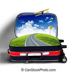 rouges, valise, paysage, route, intérieur