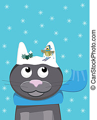 Snow-cat with skiing Bird - Cute cat with scarf during...
