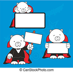 polar bear dracula cartoon signboard