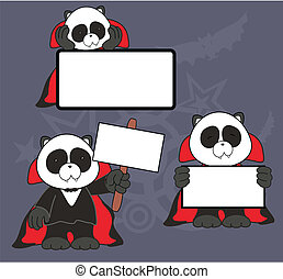 panda bear dracula cartoon signboard