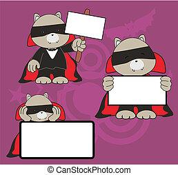 raccoon dracula cartoon signboard