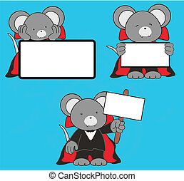 mouse dracula cartoon signboard set in vector format