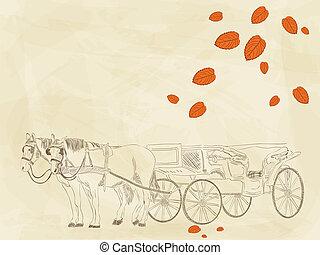 dibujado, carruaje, mano