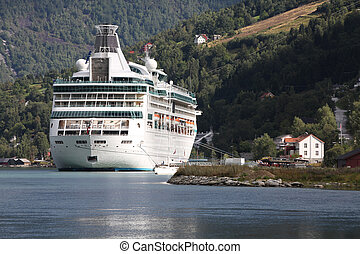 Cruise ship - Norway, Sogn of Fjordane county. Cruise ship...