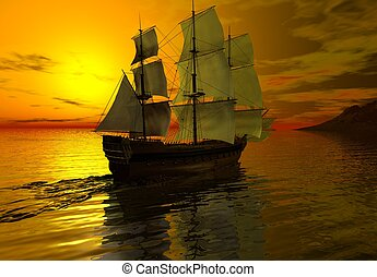 Ship at Sunset - Sailing ship at sunset on a calm sea, 3d...