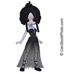 Toon Halloween Vampire Woman - Cute Toon Vampire woman in a...